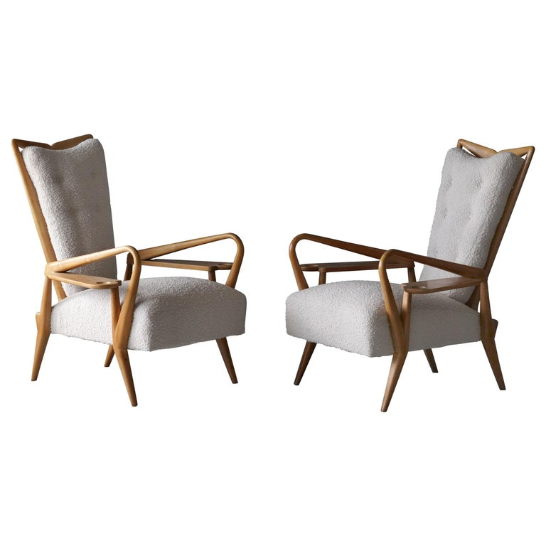Giordano Forti 'Attribution', Pair of Lounge Chairs, Maple, Bouclé, Italy, 1940s For Sale
