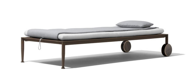 Gea Beach Lounger designed by Chi Wing Lo Ajustable Chaise lounge with sophisticated manual mechanism enables the incline of the back and footrest to be adjusted, offering a piece of furniture that provides an almost personalised solution to