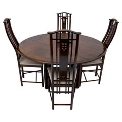 """Giorgetti Italian Round Dinning Table and Four Armchairs """"Gallery"""", 1980s"""