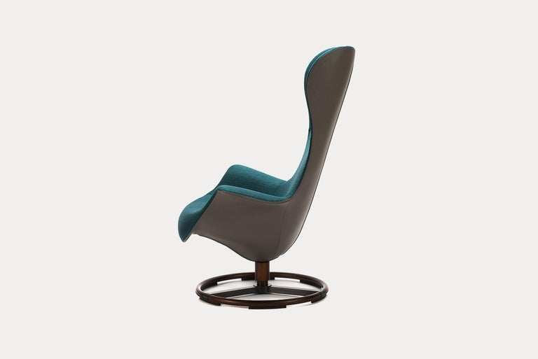 Teal Fabric And Taupe Italian Leather Tilt Swivel Ergonomic Armchair
