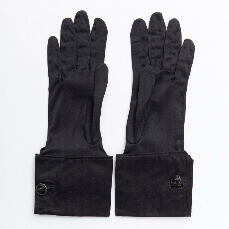 GIORGIO ARMANI 100% silk black jewel cufflink structured cuff evening glove  GIORGIO ARMANI 100% silk. Black. Tonal stitching. Structured cuff. Black jewel cufflink. Gunmetal silver-tone hardware. Made in Italy.  CONDITION Very good, this item was