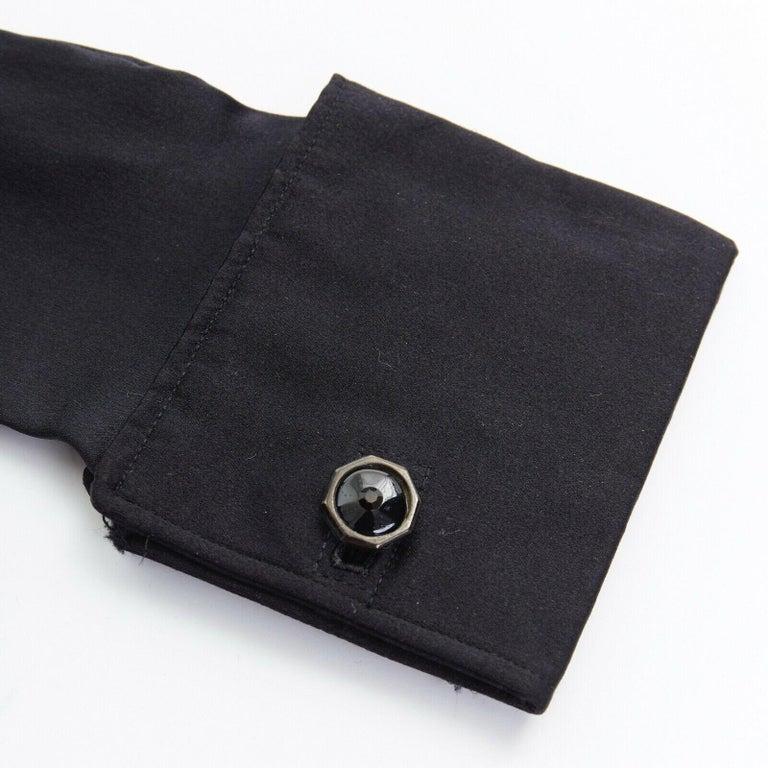Black GIORGIO ARMANI 100% silk black jewel cufflink structured cuff evening glove For Sale