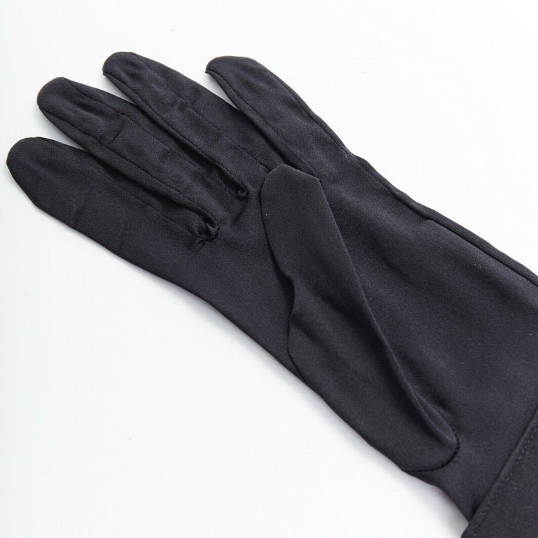 GIORGIO ARMANI 100% silk black jewel cufflink structured cuff evening glove In Excellent Condition For Sale In Hong Kong, NT