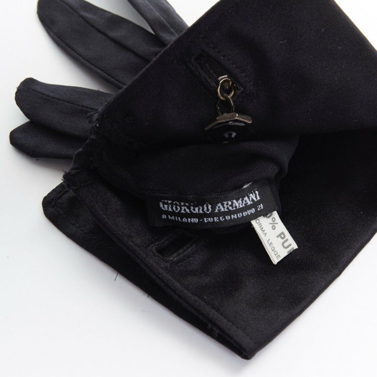 Women's GIORGIO ARMANI 100% silk black jewel cufflink structured cuff evening glove For Sale