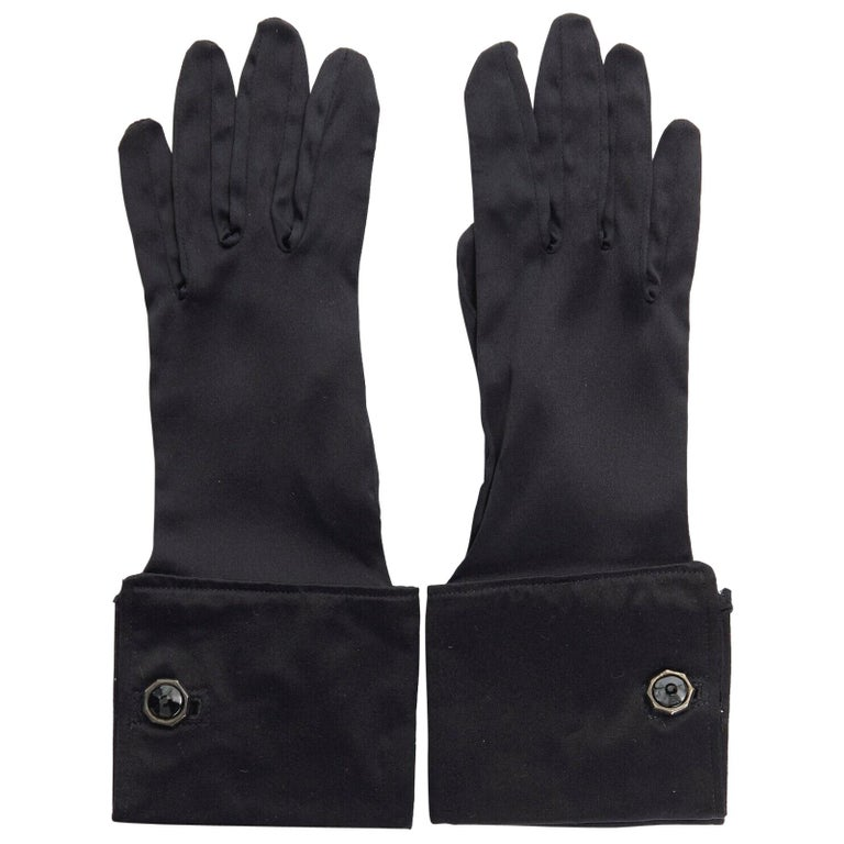 GIORGIO ARMANI 100% silk black jewel cufflink structured cuff evening glove For Sale