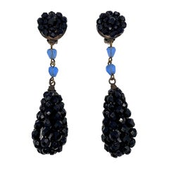 "Giorgio Armani 1980s Black Bead 4"" Pendant Earrings"