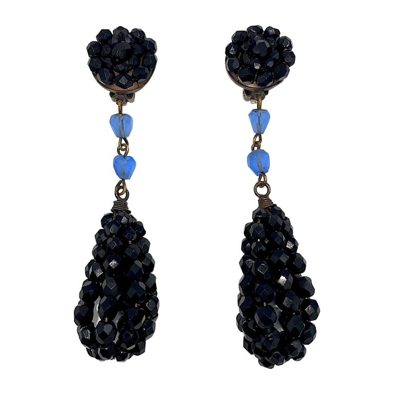 """Giorgio Armani 1980s Black Bead 4"""" Pendant Earrings For Sale"""
