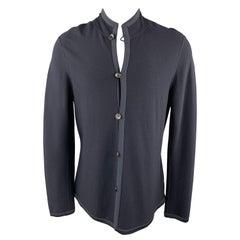 GIORGIO ARMANI 42 Navy Wool Blend Nehru Collar Jacket