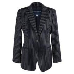 Giorgio Armani Americana Fresh and Chic Navy Pinstripe Jacket 48