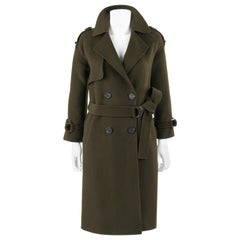 GIORGIO ARMANI Army Green Double Breasted Cashmere Military Belted Jacket Coat