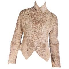 Giorgio Armani Beige Lamb Fur Cropped Jacket