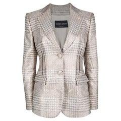 Giorgio Armani Beige Lurex Jacquard Tailored Blazer M