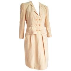 Giorgio ARMANI beige yellow tone silk skirt suit - Unworn, New