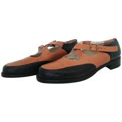 Giorgio Armani Bicolor Open Leather Shoes. Size 40