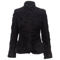 Giorgio Armani Black Crinkled Velvet Fitted Jacket