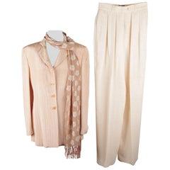 GIORGIO ARMANI BLACK LABEL Peach WOMEN SUIT Blazer & Wide Trousers