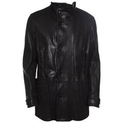 Giorgio Armani Black Lambskin Leather High Neck Jacket XL