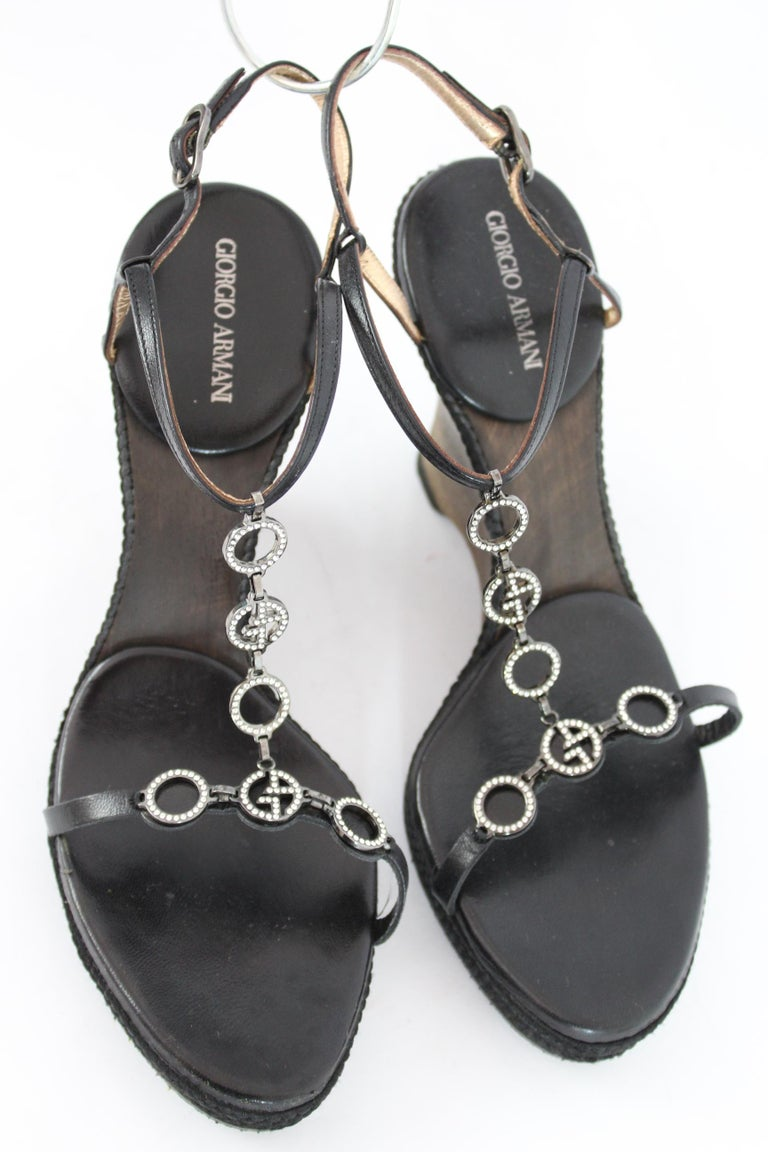 Giorgio Armani Black Leather Rhinestone Wedge Heel Jewel Shoes  In Excellent Condition For Sale In Brindisi, Bt