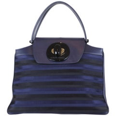 Giorgio Armani Black/Navy Leather Top Handle Bag