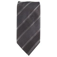 GIORGIO ARMANI Black on Black Diagonal Striped Silk Tie