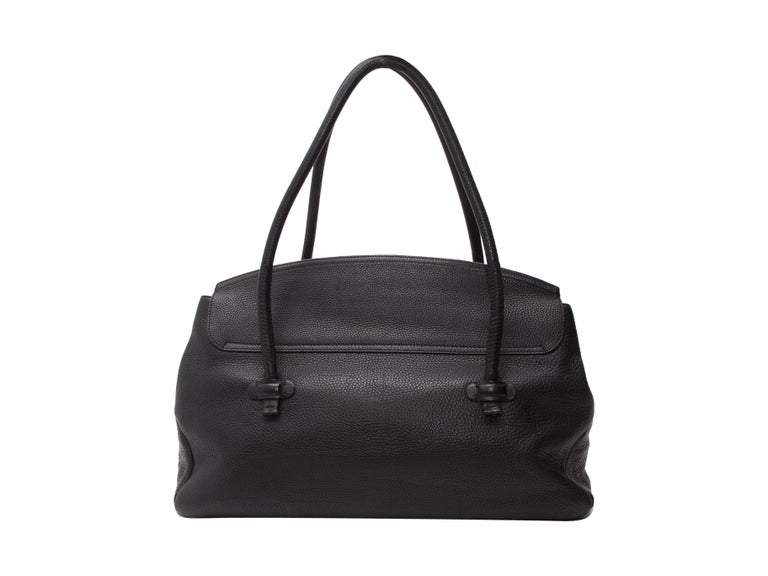 Giorgio Armani Black Pebbled Leather Tote Bag In Good Condition For Sale In New York, NY