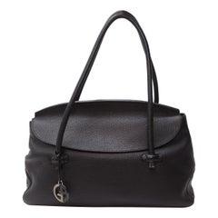 Giorgio Armani Black Pebbled Leather Tote Bag