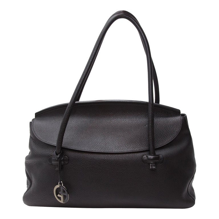 Giorgio Armani Black Pebbled Leather Tote Bag For Sale