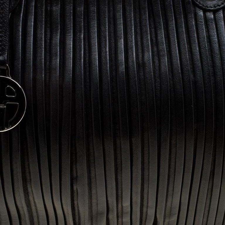 a82ee4bb643e Giorgio Armani Black Pleated Leather Tote For Sale at 1stdibs
