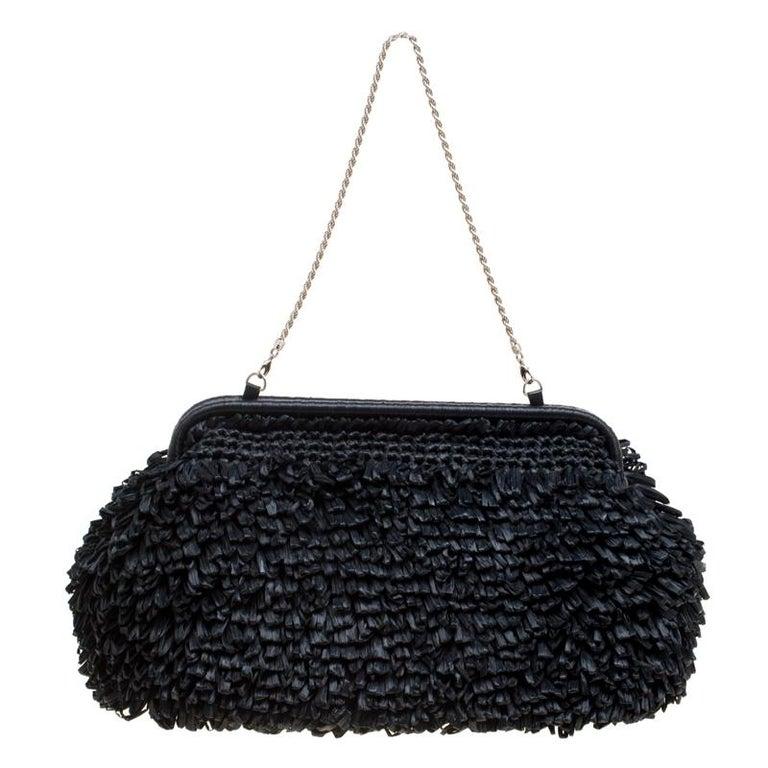 204c70e48389 Giorgio Armani Black Raffle Straw Large Chain Clutch For Sale at 1stdibs