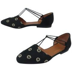 Giorgio Armani Black Satin Embroidered Shoes Sz 35 1/2