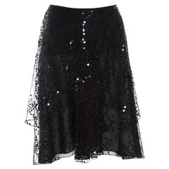 Giorgio Armani Black Sequined Layered Tulle Skirt M