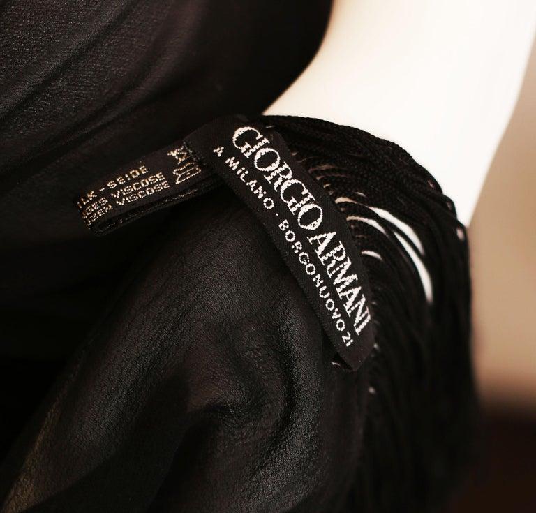 Women's Giorgio Armani black  silk chiffon fringed shawl 1990 For Sale