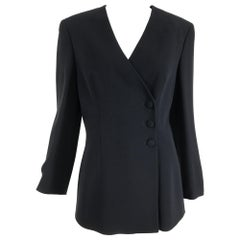 Giorgio Armani Black Silk V Neck Jacket Side Front Closure