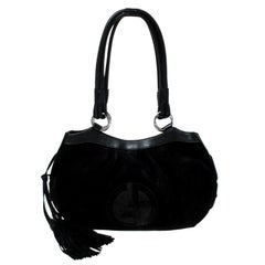Giorgio Armani Black Suede and Leather Tassel Shoulder Bag