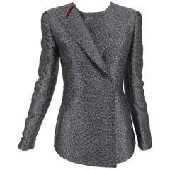 Giorgio Armani Black & White Dot Burgundy Lined Silk Jacket