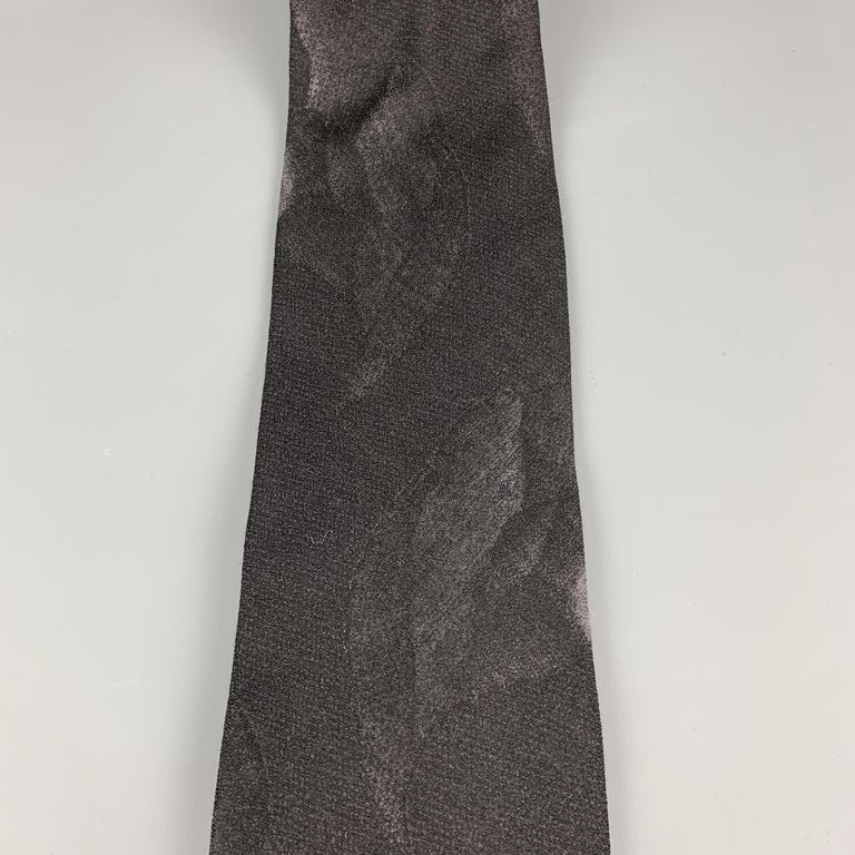 GIORGIO ARMANI Black Wool Blend Abstract Floral Print Tie In New Condition For Sale In San Francisco, CA