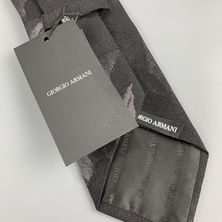 Men's GIORGIO ARMANI Black Wool Blend Abstract Floral Print Tie For Sale