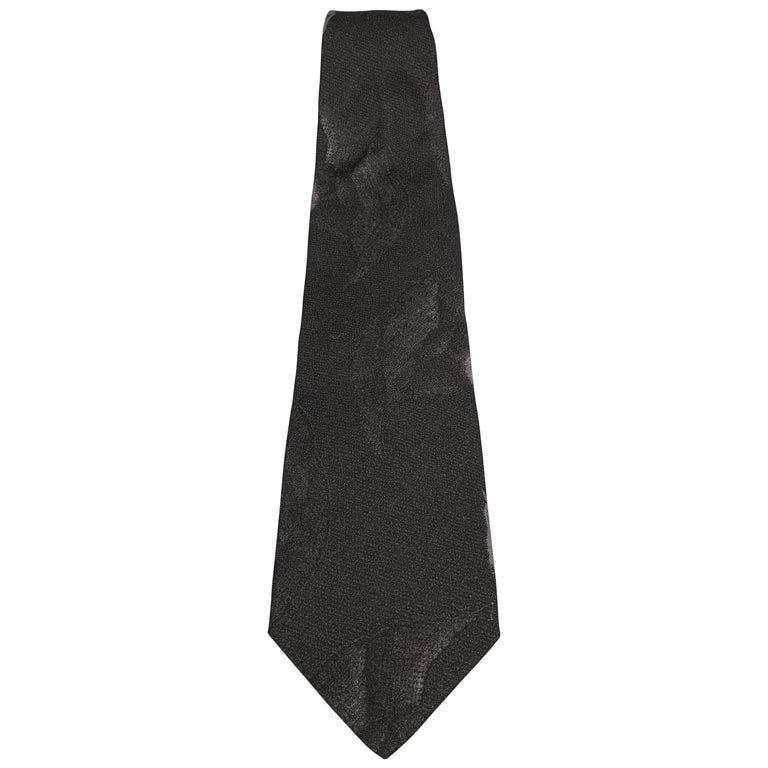 GIORGIO ARMANI Black Wool Blend Abstract Floral Print Tie For Sale