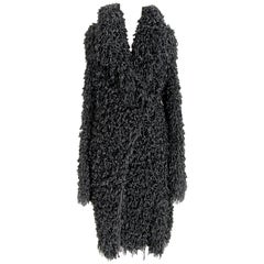 Giorgio Armani Black Wool Oversize Fringes Coat 2000s