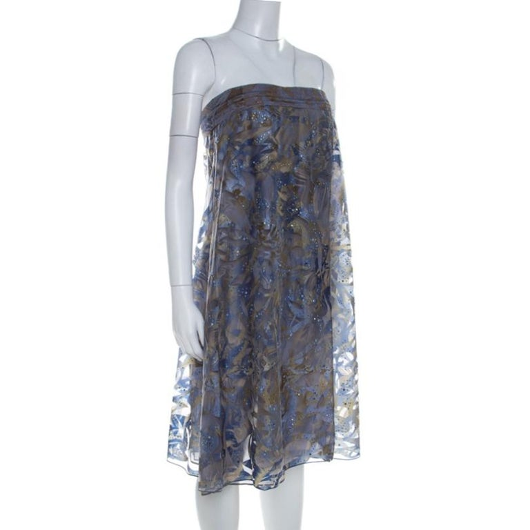Gray Giorgio Armani Blue Patterned Tulle Crystal Embellished Strapless Dress S