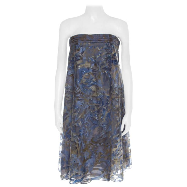 Giorgio Armani Blue Patterned Tulle Crystal Embellished Strapless Dress S
