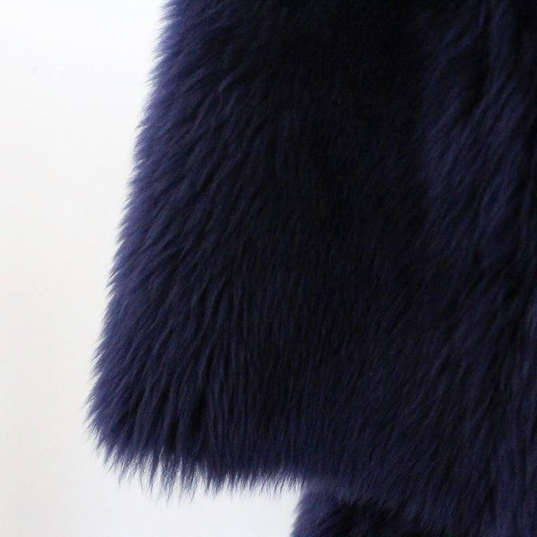 Black Giorgio Armani Blue Reversed Mutton Fur For Sale