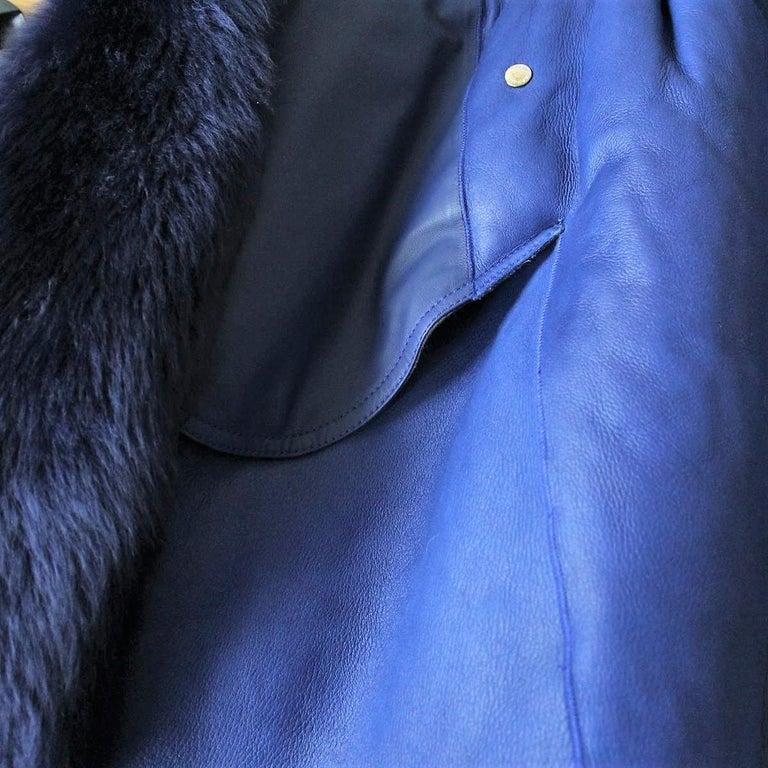 Giorgio Armani Blue Reversed Mutton Fur In Excellent Condition For Sale In Gazzaniga (BG), IT