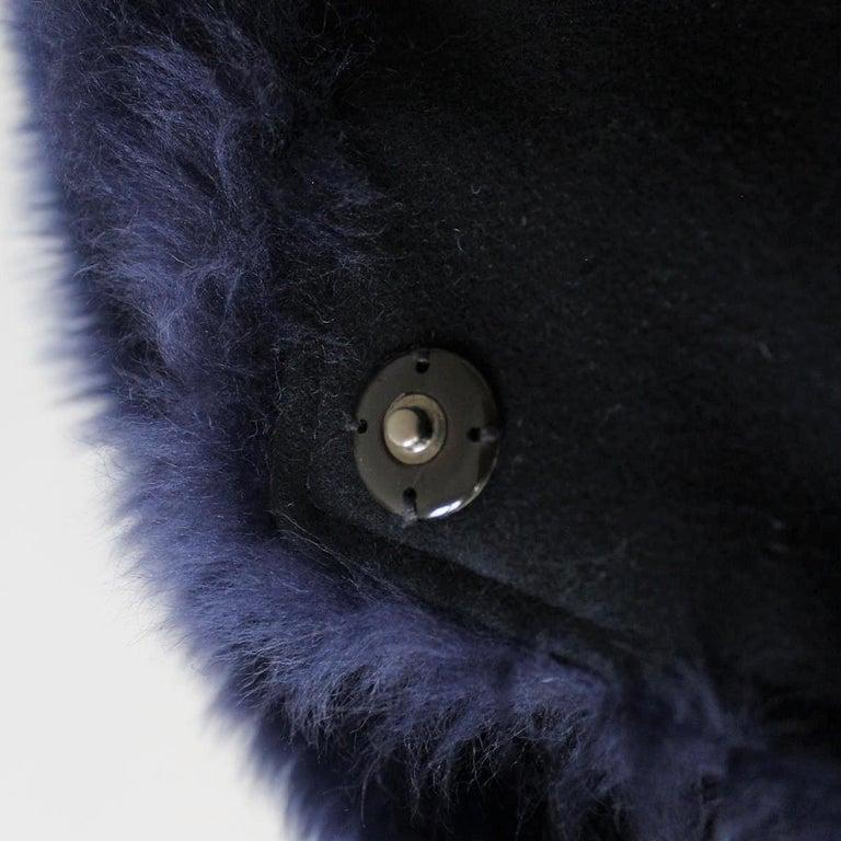 Women's Giorgio Armani Blue Reversed Mutton Fur For Sale