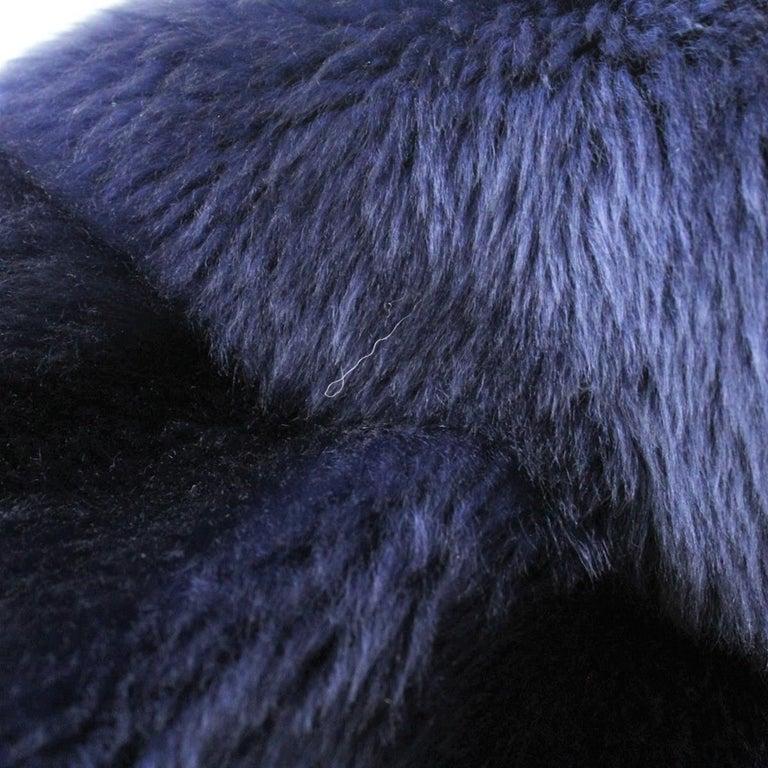 Giorgio Armani Blue Reversed Mutton Fur For Sale 3