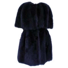 Giorgio Armani Blue Reversed Mutton Fur