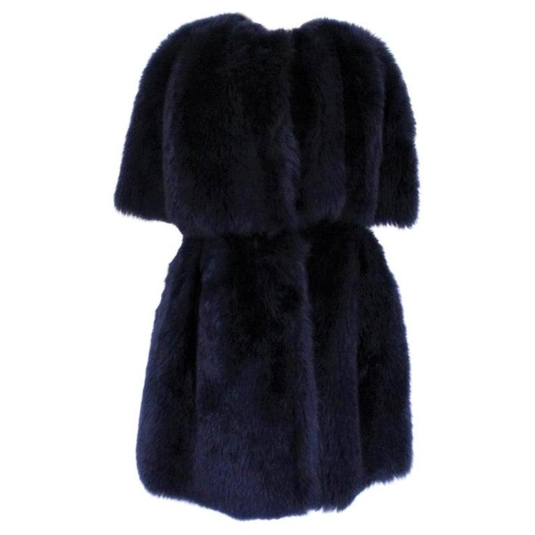 Giorgio Armani Blue Reversed Mutton Fur For Sale