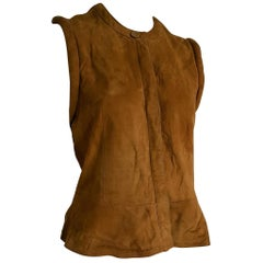 "Giorgio ARMANI brown suede vest gilet ""Dartagnan"" model - Unworn"