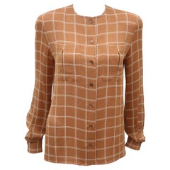 Giorgio Armani Brown Windowpane Silk Crepe Blouse
