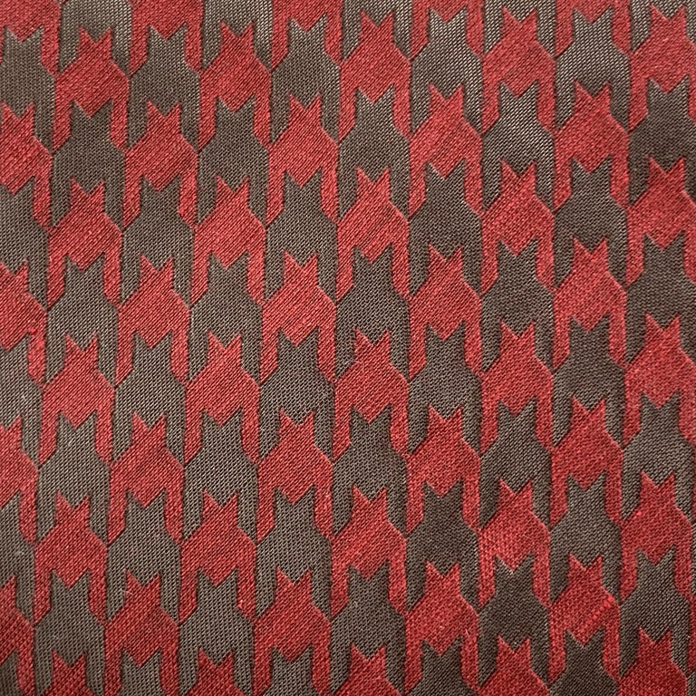 GIORGIO ARMANI necktie comes in matte burgundy silk blend material  with all over metallic charcoal houndstooth print. Made in Italy.  Excellent Pre-Owned Condition.  Width: 4 in.